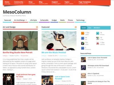 Mesocolumn Template WordPress grátis