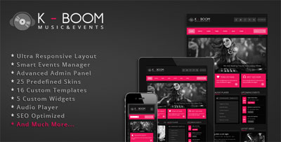 K-BOOM Events and Music Responsive WordPress Theme